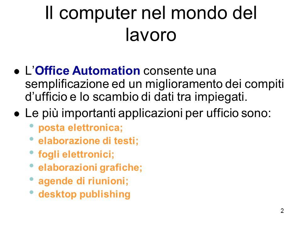 Il computer nel mondo del lavoro
