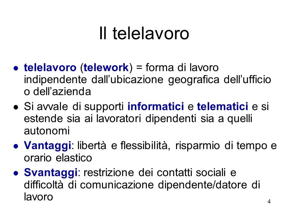 Il telelavoro telelavoro (telework) = forma di lavoro indipendente dall'ubicazione geografica dell'ufficio o dell'azienda.