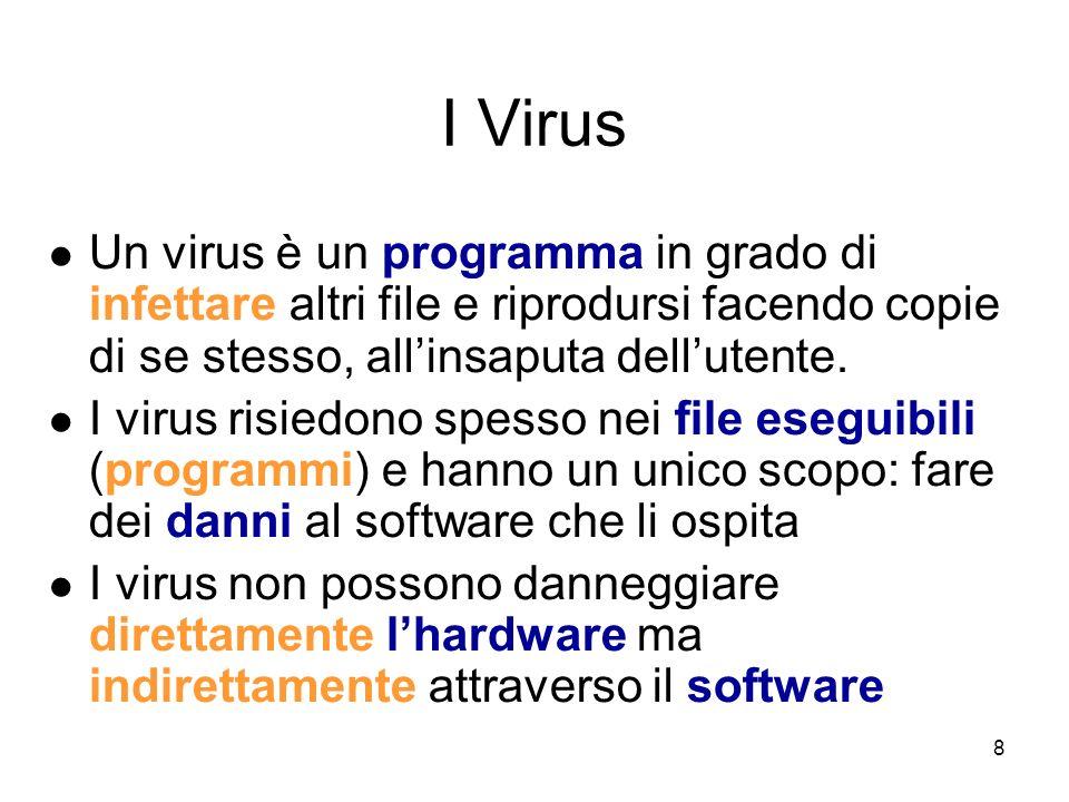 I Virus Un virus è un programma in grado di infettare altri file e riprodursi facendo copie di se stesso, all'insaputa dell'utente.