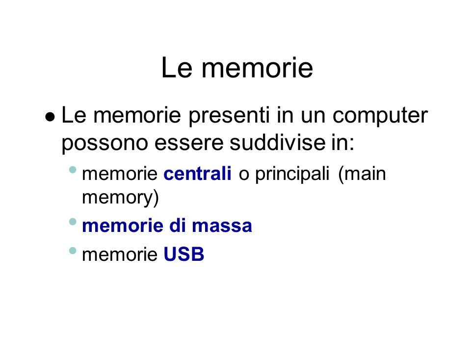 Le memorie Le memorie presenti in un computer possono essere suddivise in: memorie centrali o principali (main memory)