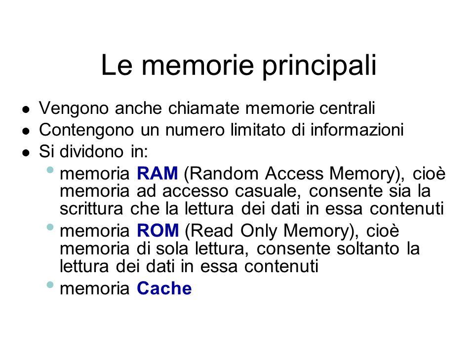 Le memorie principali Vengono anche chiamate memorie centrali. Contengono un numero limitato di informazioni.