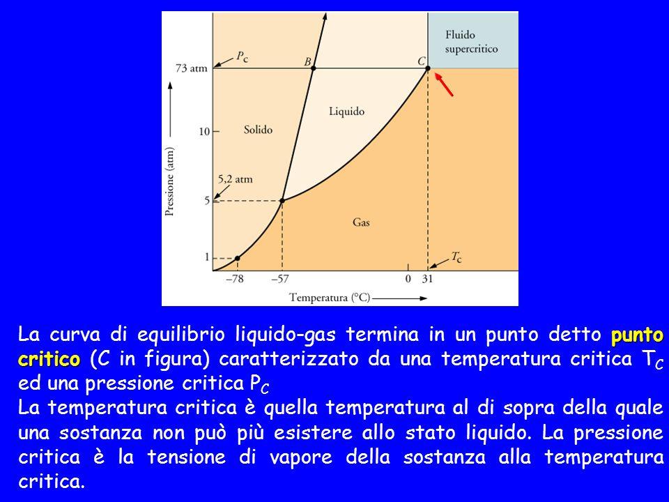 La curva di equilibrio liquido-gas termina in un punto detto punto critico (C in figura) caratterizzato da una temperatura critica TC ed una pressione critica PC