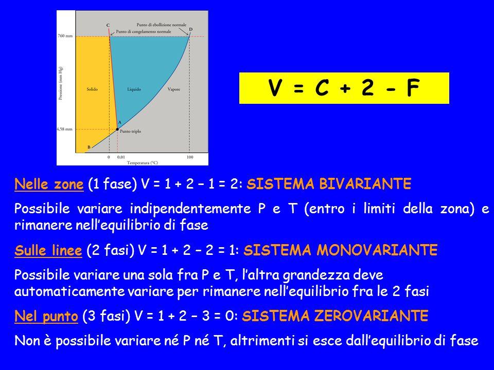 V = C + 2 - F Nelle zone (1 fase) V = 1 + 2 – 1 = 2: SISTEMA BIVARIANTE.