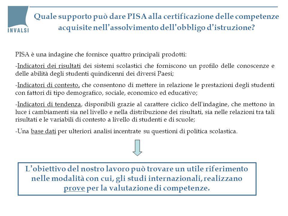 Quale supporto può dare PISA alla certificazione delle competenze acquisite nell'assolvimento dell'obbligo d'istruzione