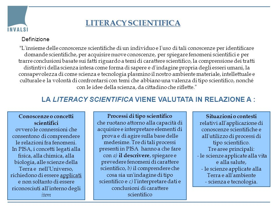 LITERACY SCIENTIFICA Definizione.