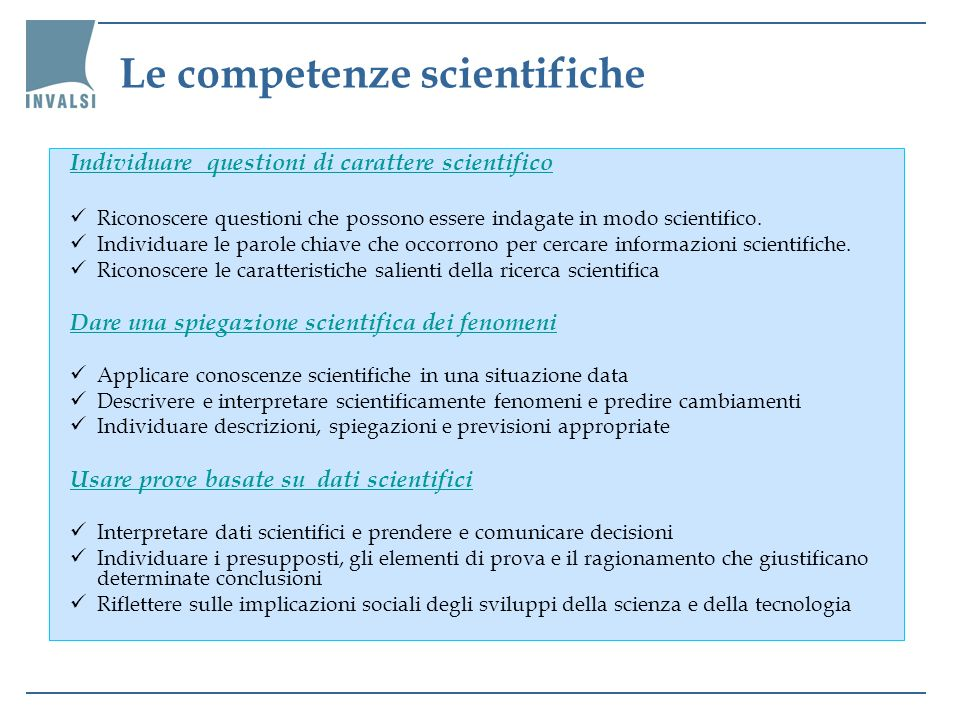 Le competenze scientifiche