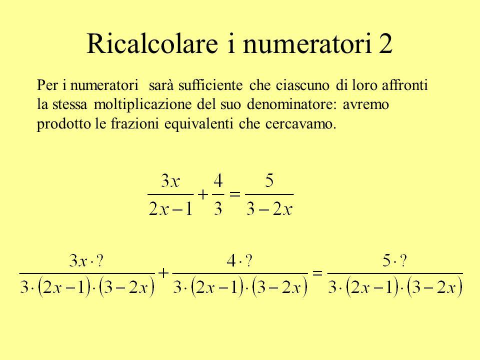 Ricalcolare i numeratori 2