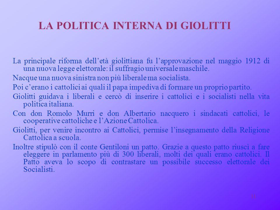LA POLITICA INTERNA DI GIOLITTI