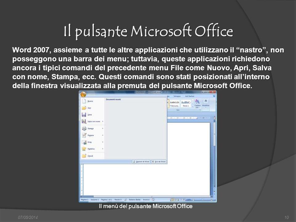 Il pulsante Microsoft Office