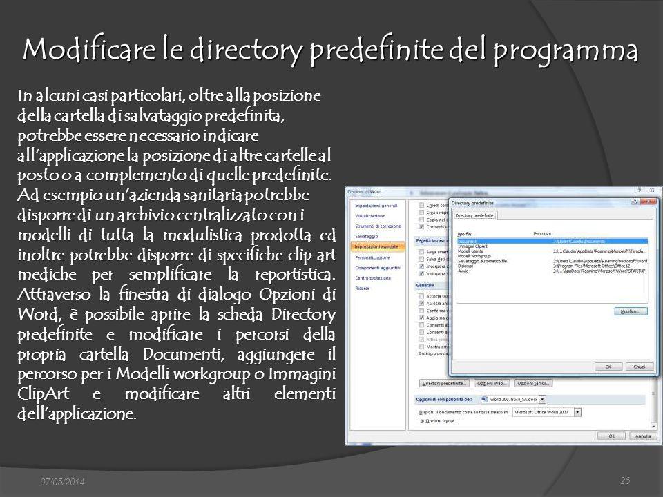 Modificare le directory predefinite del programma