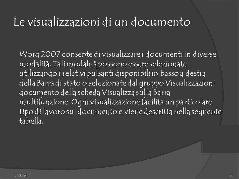 Le visualizzazioni di un documento