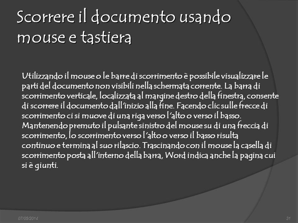 Scorrere il documento usando mouse e tastiera