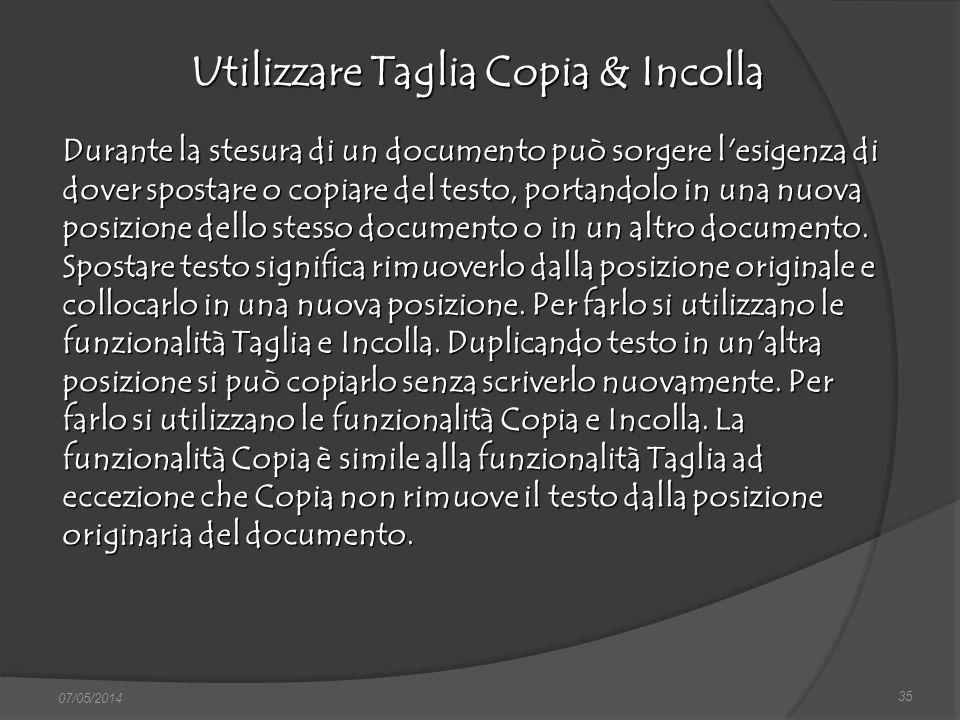 Utilizzare Taglia Copia & Incolla