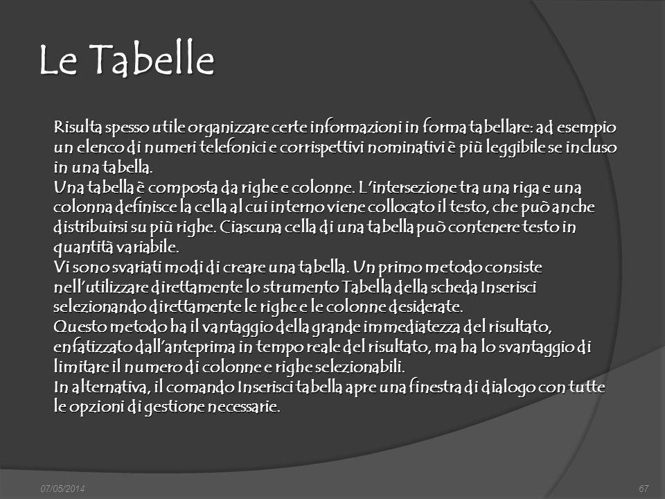 Le Tabelle