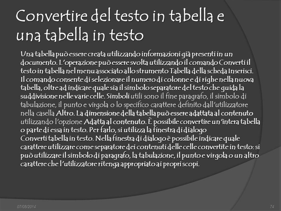 Convertire del testo in tabella e una tabella in testo