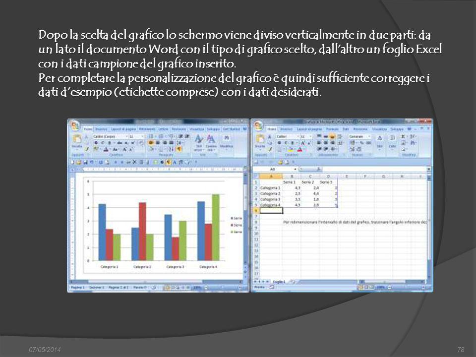 Dopo la scelta del grafico lo schermo viene diviso verticalmente in due parti: da un lato il documento Word con il tipo di grafico scelto, dall'altro un foglio Excel con i dati campione del grafico inserito.