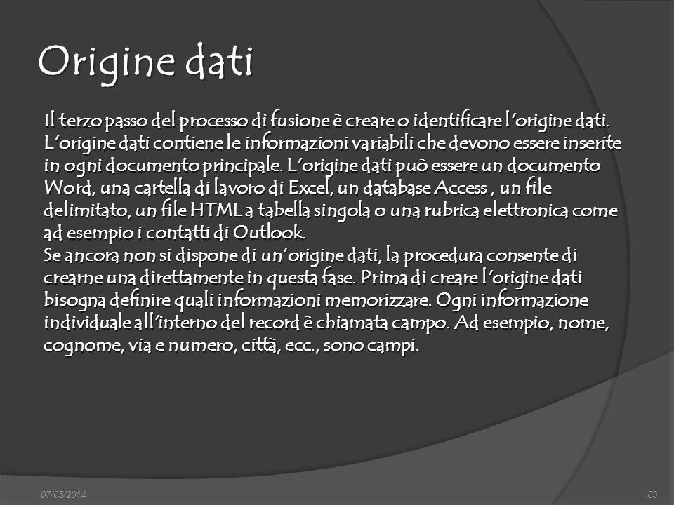 Origine dati
