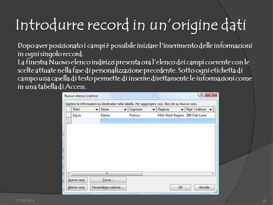 Introdurre record in un'origine dati