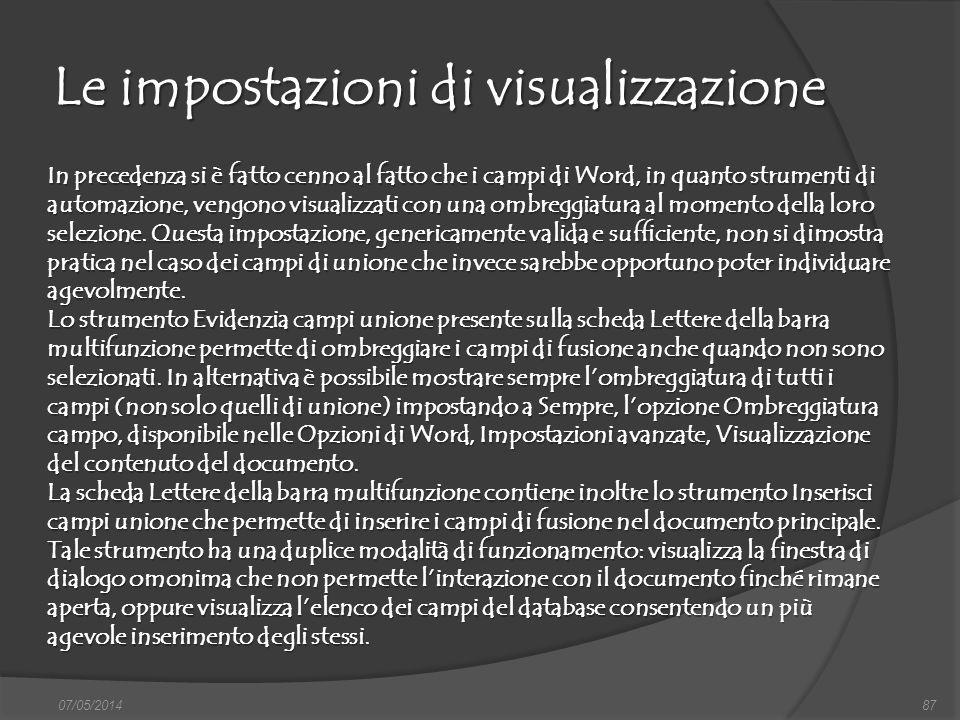 Le impostazioni di visualizzazione