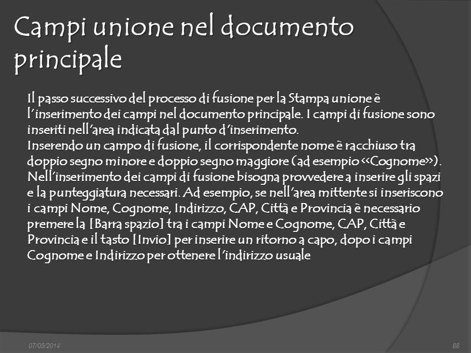 Campi unione nel documento principale