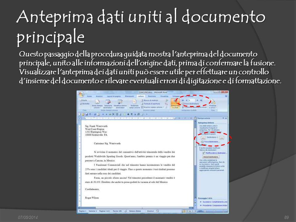 Anteprima dati uniti al documento principale