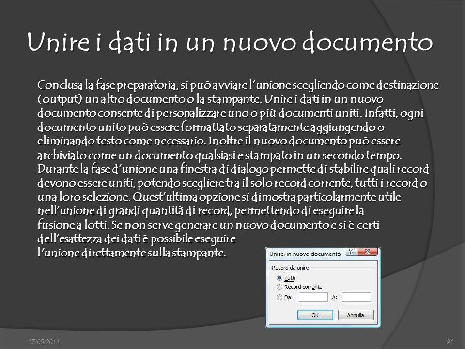 Unire i dati in un nuovo documento