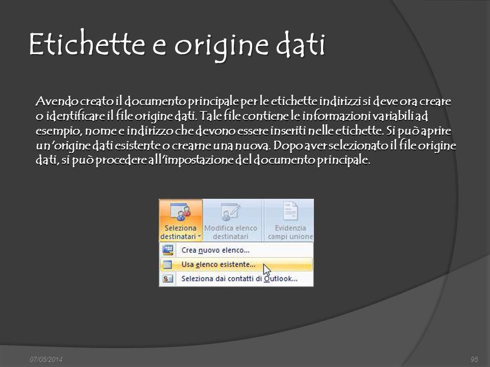 Etichette e origine dati