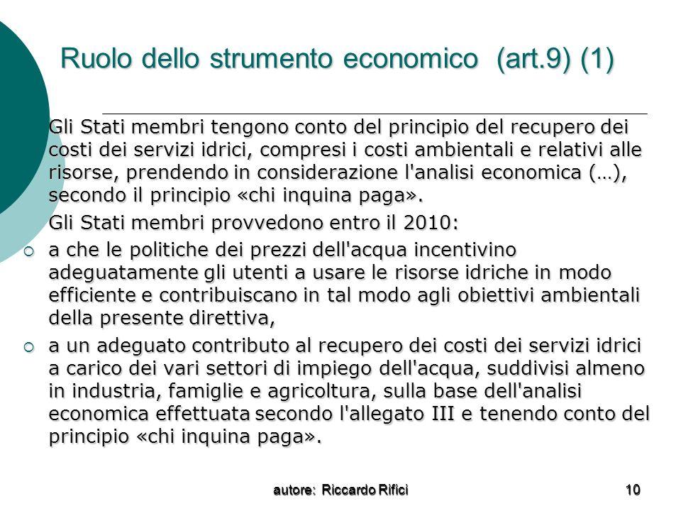 Ruolo dello strumento economico (art.9) (1)