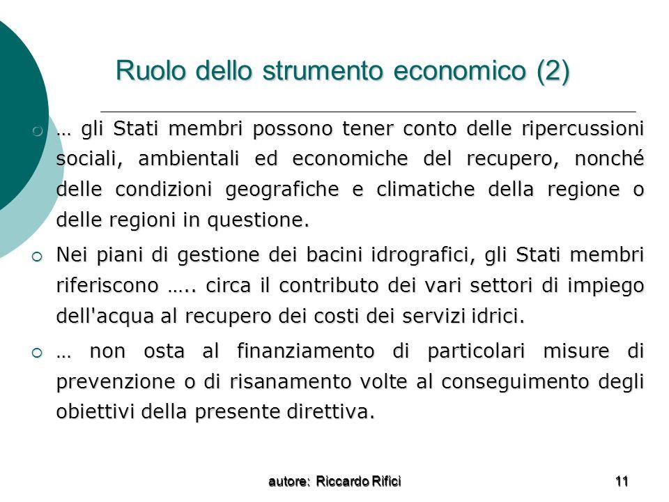 Ruolo dello strumento economico (2)