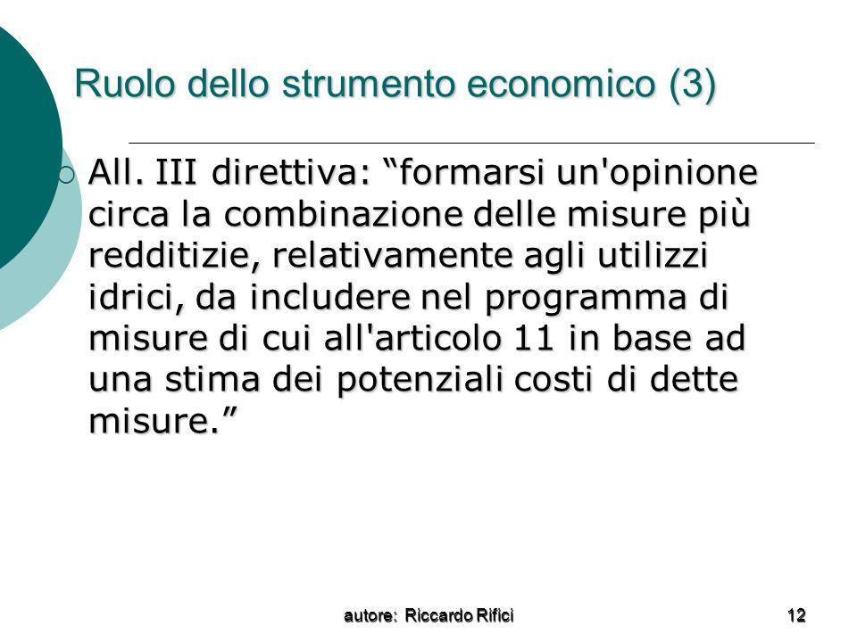 Ruolo dello strumento economico (3)
