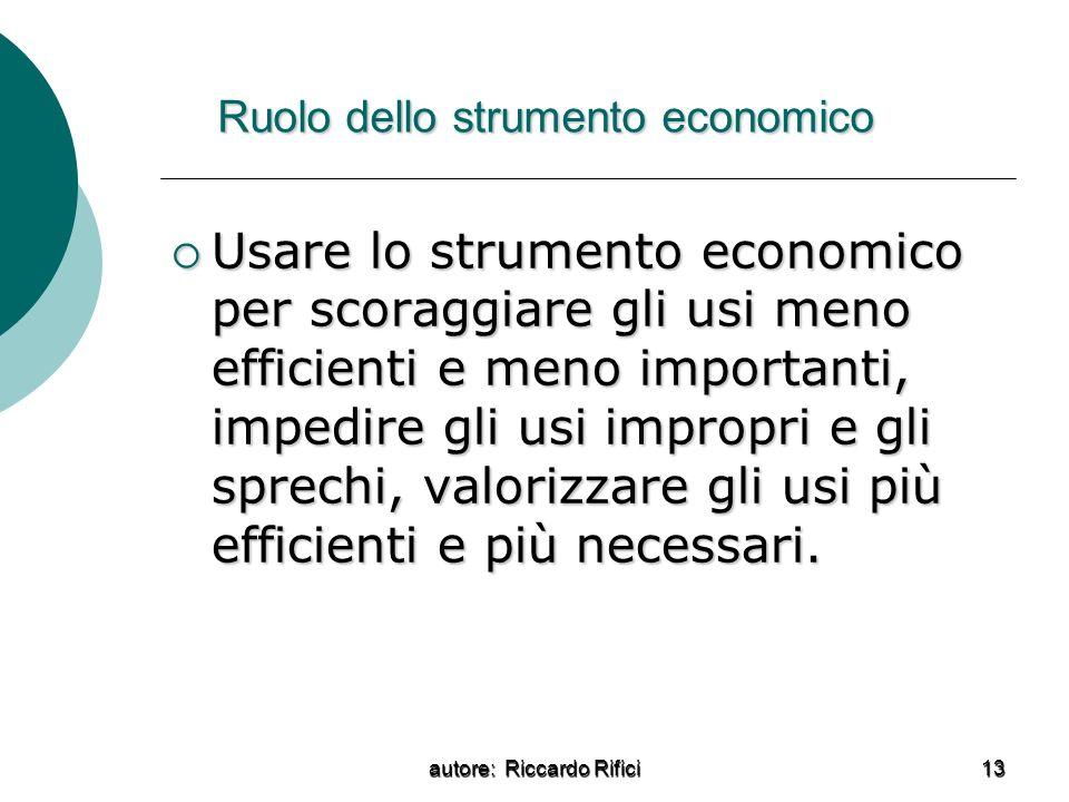 Ruolo dello strumento economico