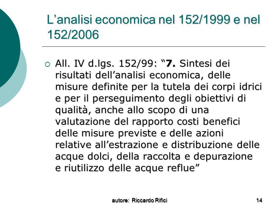 L'analisi economica nel 152/1999 e nel 152/2006