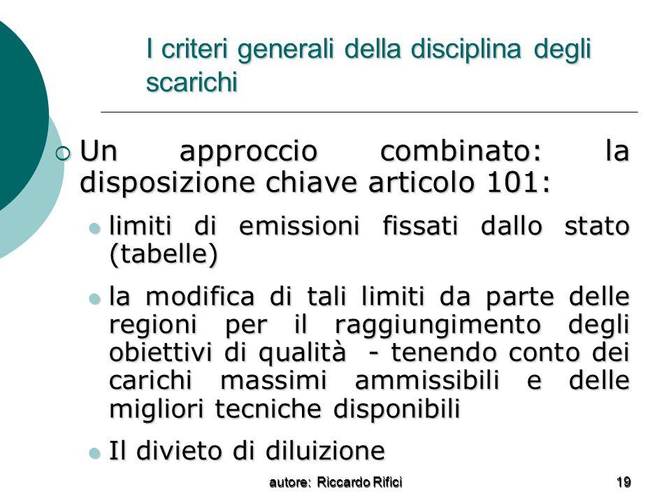 I criteri generali della disciplina degli scarichi