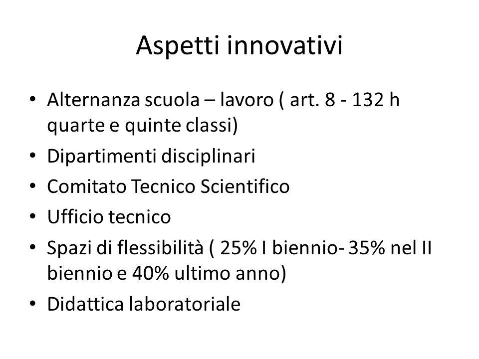 Aspetti innovativi Alternanza scuola – lavoro ( art. 8 - 132 h quarte e quinte classi) Dipartimenti disciplinari.