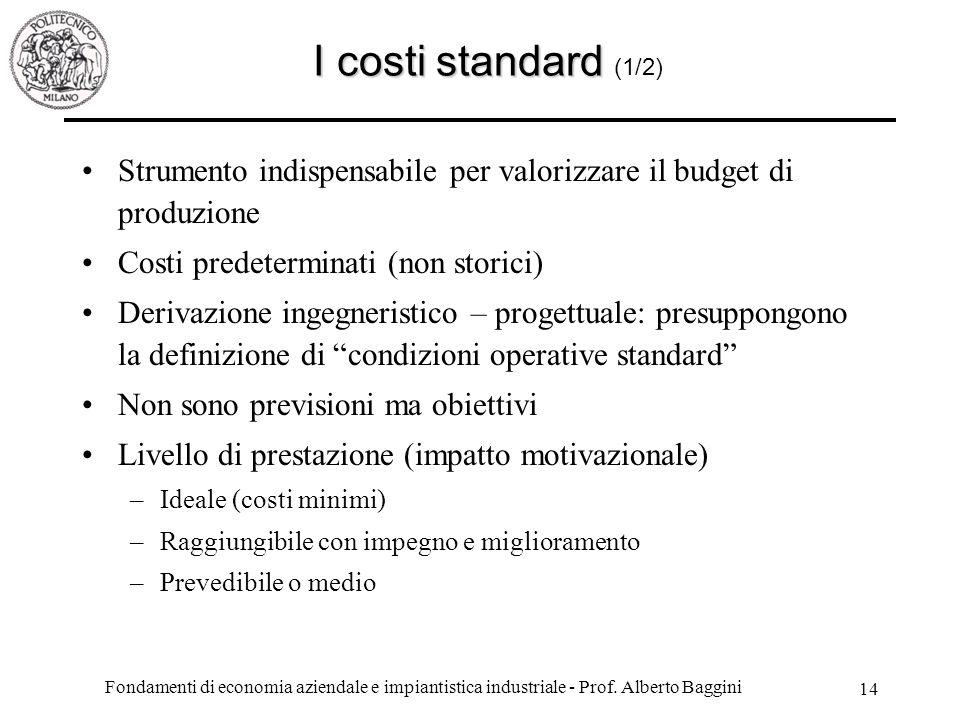 I costi standard (1/2) Strumento indispensabile per valorizzare il budget di produzione. Costi predeterminati (non storici)