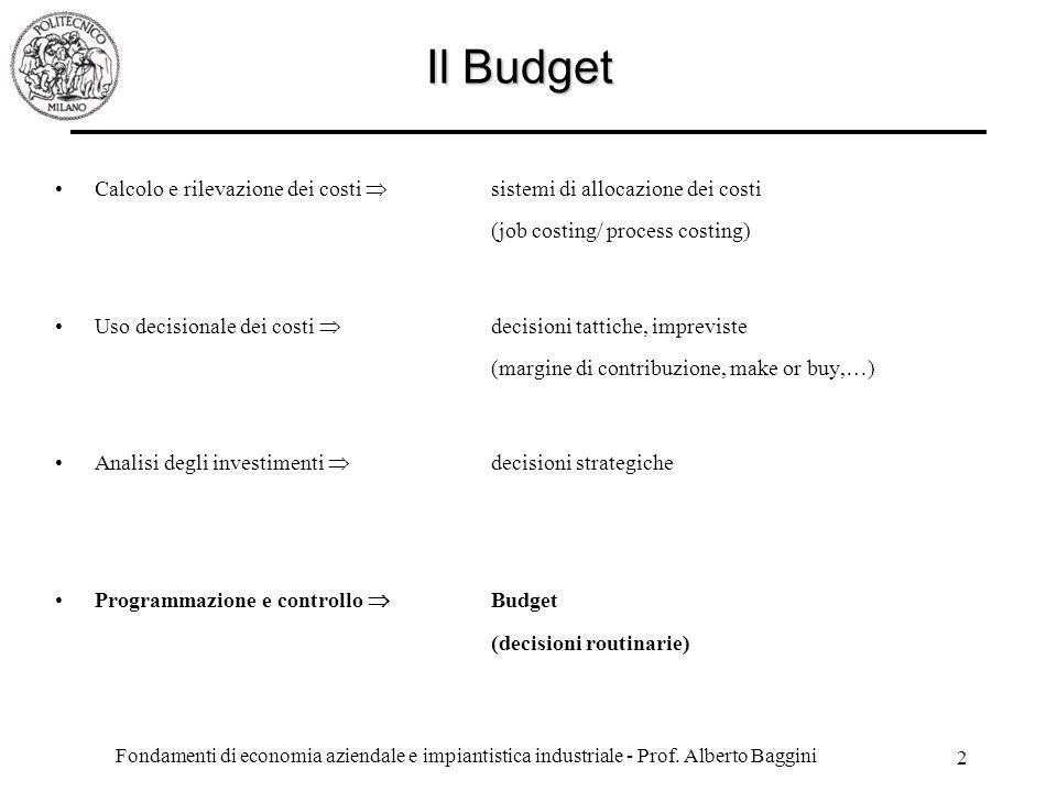 Il Budget Calcolo e rilevazione dei costi  sistemi di allocazione dei costi (job costing/ process costing)