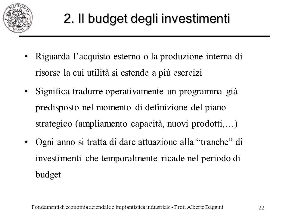 2. Il budget degli investimenti