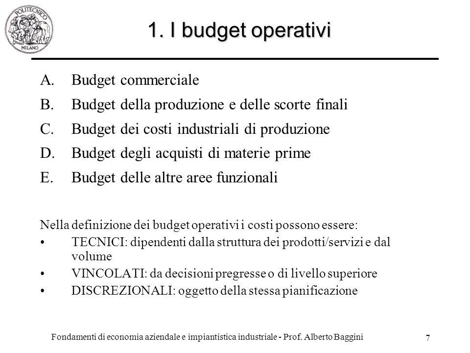 1. I budget operativi Budget commerciale