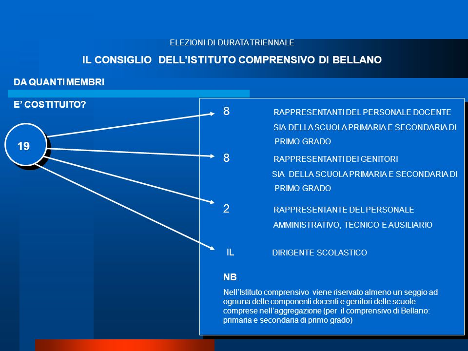 IL CONSIGLIO DELL'ISTITUTO COMPRENSIVO DI BELLANO