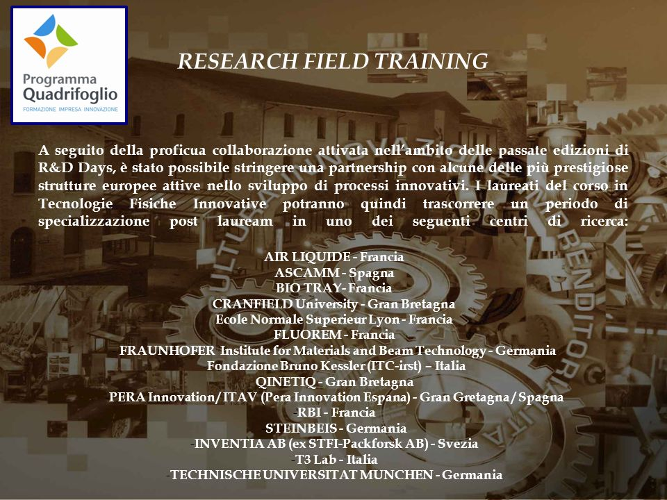 RESEARCH FIELD TRAINING