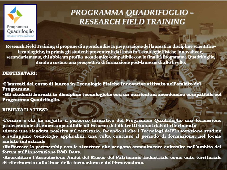 PROGRAMMA QUADRIFOGLIO – RESEARCH FIELD TRAINING