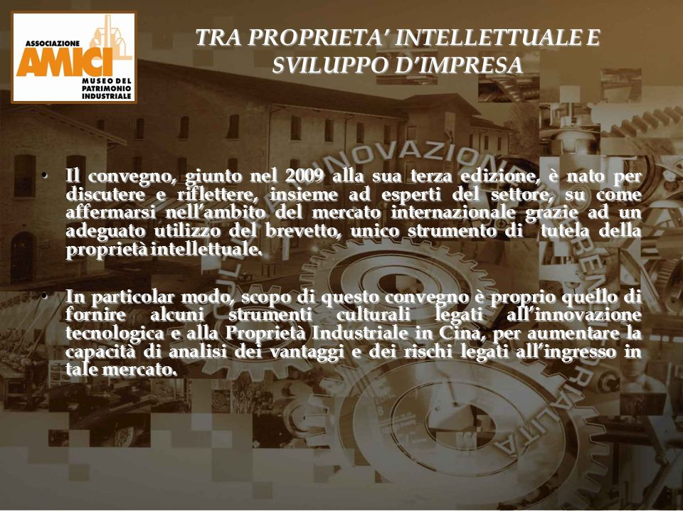 TRA PROPRIETA' INTELLETTUALE E SVILUPPO D'IMPRESA