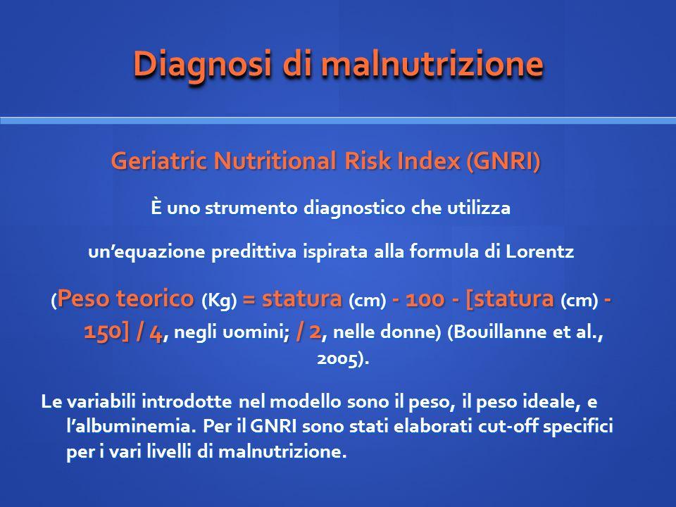 Diagnosi di malnutrizione