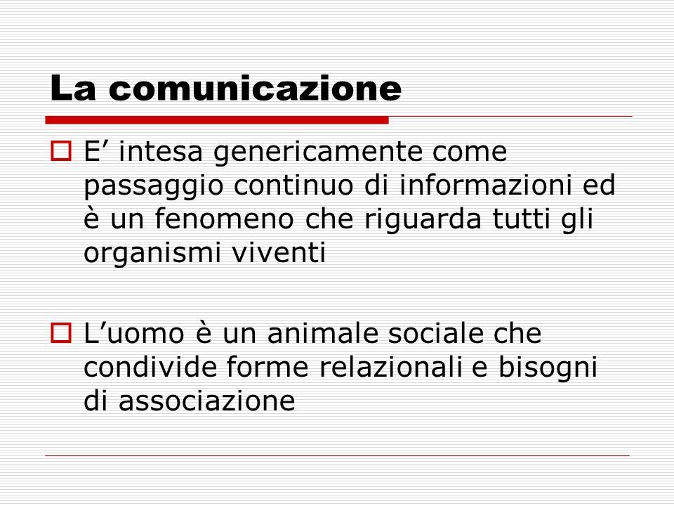 La comunicazione E' intesa genericamente come passaggio continuo di informazioni ed è un fenomeno che riguarda tutti gli organismi viventi.