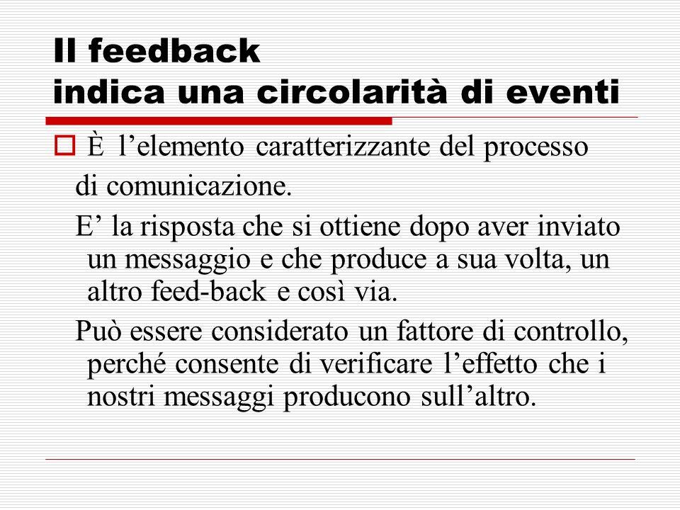 Il feedback indica una circolarità di eventi
