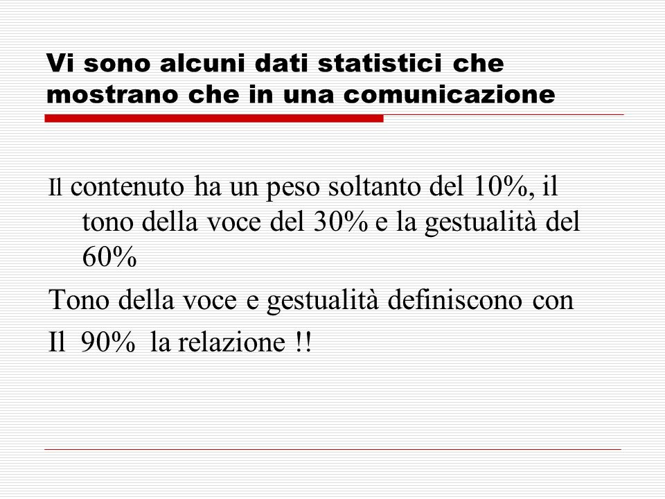 Vi sono alcuni dati statistici che mostrano che in una comunicazione