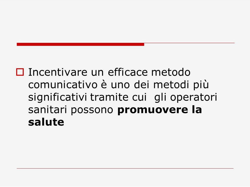 Incentivare un efficace metodo comunicativo è uno dei metodi più significativi tramite cui gli operatori sanitari possono promuovere la salute