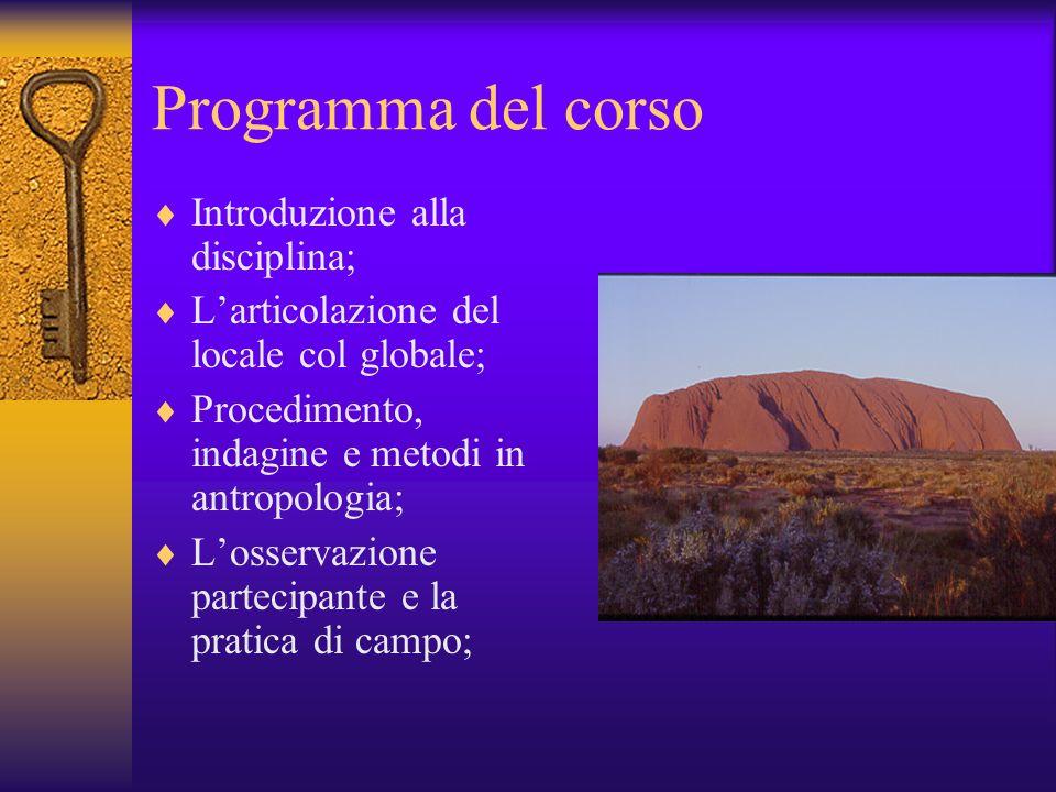 Programma del corso Introduzione alla disciplina;