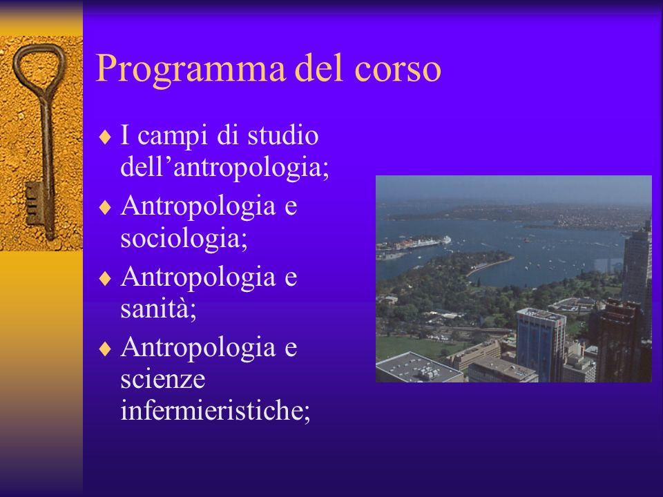 Programma del corso I campi di studio dell'antropologia;