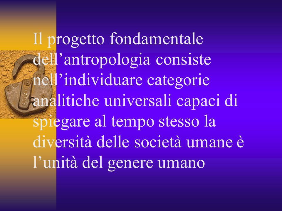 Il progetto fondamentale dell'antropologia consiste nell'individuare categorie analitiche universali capaci di spiegare al tempo stesso la diversità delle società umane è l'unità del genere umano